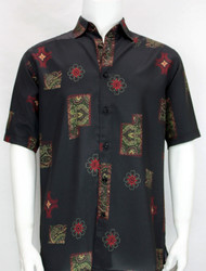 Outlet Center: Bassiri Multi Floral Design Short Sleeve Camp Shirt