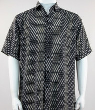 Outlet Center: Bassiri Abstract Line & Stripe Design Short Sleeve Camp Shirt - Black and Grey Tones