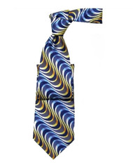 Outlet Center: Antonio Ricci 100% Silk Woven Tie - Blue & Yellow Swirls