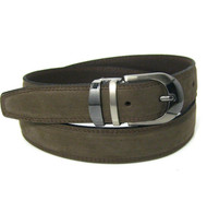 Outlet Center: Double Stitched Genuine Nubuck Leather 30mm Belt - Basic Brown