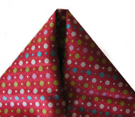 Clericci Fashion Pocket Square - Dots on Red