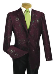 Outlet Center: Vinci Fancy Wine Paint Splatter Sportcoat