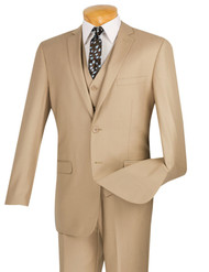 Outlet Center: Vinci 2-Button Beige Suit with Vest - Slim Fit
