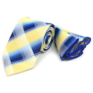 Laurant Bennet Necktie w/ Matching Pouf Pocket Square - Blue and Yellow Plaid