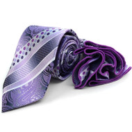Laurant Bennet Necktie w/ Matching Pouf Pocket Square - Purple Paisley Stripe