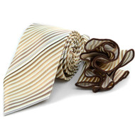 Laurant Bennet Necktie w/ Matching Pouf Pocket Square - Tan Small Stripes