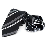 Laurant Bennet Necktie w/ Matching Pouf Pocket Square -  Black with White Stripes
