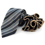 Laurant Bennet Necktie w/ Matching Pouf Pocket Square -  Black Stripe Pattern