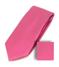 Antonia 100% Woven X-Long Silk Necktie with Pocket Square - Bright Pink