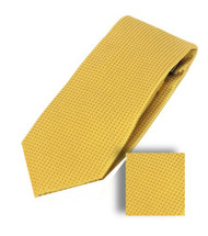 Antonia 100% Woven X-Long Silk Necktie with Pocket Square - Golden