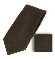 Antonia 100% Woven X-Long Silk Necktie with Pocket Square - Dark Brown