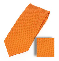 Antonia 100% Woven X-Long Silk Necktie with Pocket Square - Orange