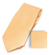Antonia 100% Woven X-Long Silk Necktie with Pocket Square - Peach