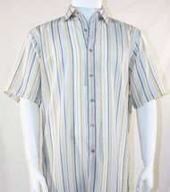 Bassiri Blue and Gold Stripes on White Short Sleeve Camp Shirt