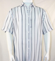 Bassiri Grey and Charcoal Stripes on White Short Sleeve Camp Shirt