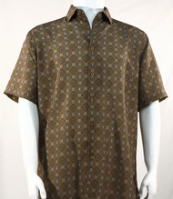 Bassiri Brown Medallion Design Short Sleeve Camp Shirt