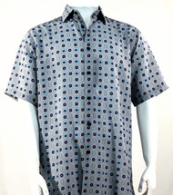 Bassiri Navy and Grey Medallion Design Short Sleeve Camp Shirt