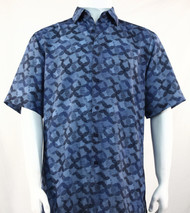 Bassiri Blue Abstract Spiral Design Short Sleeve Camp Shirt
