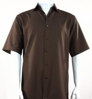 Bassiri Diamond Weave Short Sleeve Camp Shirt - Brown