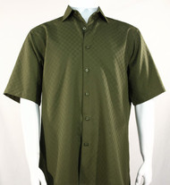 Bassiri Diamond Weave Short Sleeve Camp Shirt - Olive