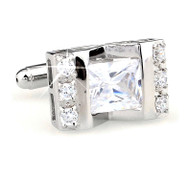 Large Princess Cut Diamond-Colored Crystal Cufflinks (V-CF-C64308C-S)