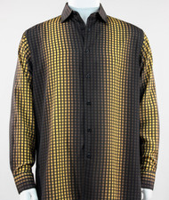 Bassiri Gold Box & Faded Stripe Design Long Sleeve Camp Shirt