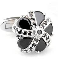 Black Swarovski® Crystal Pinwheel Cufflinks (V-CF-C1920B-S)