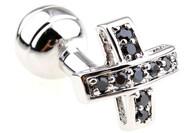 Black Swarovski® Crystal Small Cross Cufflinks (V-CF-C250011B-S)