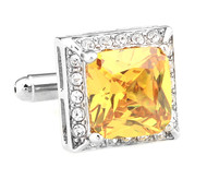 Large Yellow Square Crytal Cufflinks (V-CF-C64121Y-S)