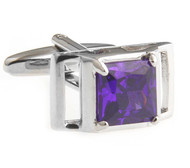 Purple Princess Cut Crystal Cufflinks (V-CF-C40455PR-S)