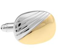 Gold Panel Silver Cufflinks (V-CF63713)