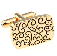 Black Design Gold Cufflinks (V-CF-M210025G)