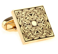 Black Design Square Gold Cufflinks (V-CF-51430-G)
