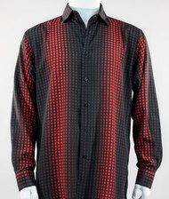 Bassiri Red Box & Faded Stripe Design Long Sleeve Camp Shirt