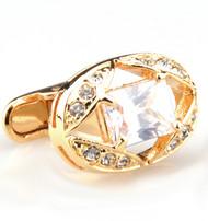 Large Diamond Crystal Gold Cufflinks (V-CF-C50629C-G)