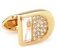 Diamond Crystal Gold Cufflinks (V-CF-C81362C-G)
