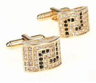 Black and Diamond Crystal Gold Cufflinks (V-CF-C417-G)
