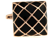 Black Domed Square Rose Gold Cufflinks (V-CF-56717B-RG)