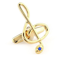 Large Treble Clef with Blue Crystal Cufflinks (V-CF-C64927B-G)