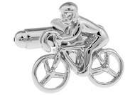 Silver Biker on Bicycle Cufflinks (V-CF-70319)