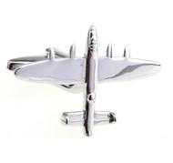 B24 Bomber Military Plane Silver Cufflinks (V-CF-6138)