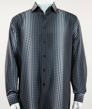Bassiri Grey and Black Tonal Box & Faded Stripe Design Long Sleeve Camp Shirt