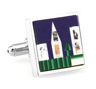 Mosaic Gemstone Skyline Cufflinks (V-CF-G64006)
