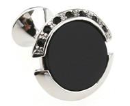 Black Onyx and Crystal Cufflinks (V-CF-M0068)
