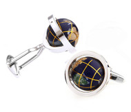 Mosaic Gemstone Moving Globe Cufflinks (V-CF-G64355BL-S-1)