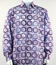 Bassiri Purple Abstract Circle Design Long Sleeve Camp Shirt