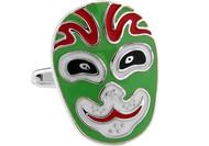 Green Kabuki Mask Cufflinks (V-CF-64675)