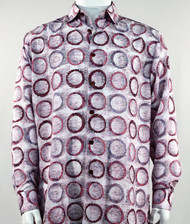 Bassiri Raspberry Abstract Circle Design Long Sleeve Camp Shirt