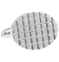 Notched Oval Silver Cufflinks (V-CF-63884)
