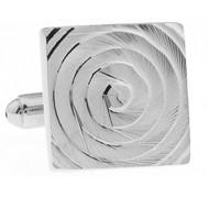 Square Spiral Silver Cufflinks (V-CF-M70425S)
